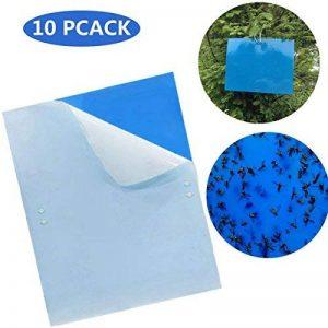 10PACK Bleu engluées contre les mouches blanches, mouches des terreaux et pucerons ailés anti-insectes pour plantes insectes Sticky pièges de colle Blanc Feuille de mouches Fly Trap Sticker(20X25cm) de la marque TIANOR image 0 produit