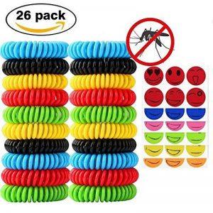 20pcs Bracelets anti-moustique avec 6pcs Autocollants anti-moustique Naturels Huiles essentielles - Ne contient pas de DEET - Résiste à l'eau - Aléatoire de la marque Isuper image 0 produit