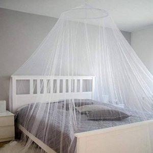 AMANKA Moustiquaire 12m Ciel de lit double berceau en tissu de polyester transparent blanc 180 mailles pour 6,45cm² OMS standard + sac de transport de la marque AMANKA image 0 produit