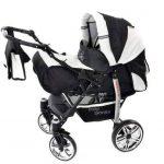 Baby Sportive - Landau pour bébé avec roues pivotables + Siège Auto - Poussette - Système 3en1, incluant sac à langer et protection pluie et moustique - Noir et Blanc de la marque Baby Sportive image 1 produit