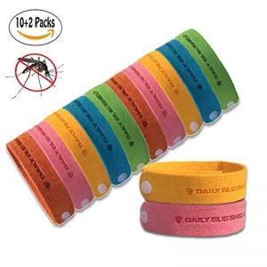Bracelet anti-moustique -12 packs tous les bracelet anti-moustique naturel bracelet insectifuge bracelets voyage pas de détritus non toxique pour les enfants et les adultes de la marque Kiveta image 0 produit