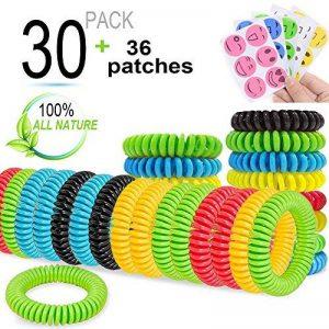 Bracelet anti-moustiques. Bracelets pour enfants et les adultes. Lot de 30, tous naturels, sans DEET. Répulsif. Lot de 36et patchs pour l'extérieur, les voyages, dure jusqu'à 300heures, étanche. de la marque Amison image 0 produit