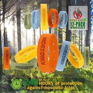 Bracelets anti-moustiques, 100% tout naturel à base de plantes Mosquito bandes de poignet, non-toxique Voyage insectifuge, matériau souple pour les enfants et les adultes, maintient les insectes et les bugs loin (12pcs) de la marque KINGSBOM image 0 produit