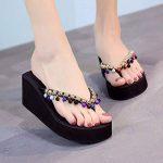 BTBTAV Côté Chaussons Chaussures De Plage À La Mode À Fond Épais Vêtements Chaussons Glissants.UK 3.5 Noir de la marque BTBTAV image 1 produit
