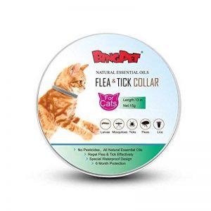CAT Collier de puces et tiques–Peigne gratuit pour enlever les puces et la saleté–Meilleur Traitement naturel pour animal domestique protection par Bingpet de la marque BingPet image 0 produit