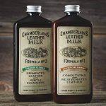 Chamberlain's Leather Milk Lot de 2 laits nettoyant/assouplissant cuir n° 1 et 2 - avec 2 cotons - naturel/non toxique - 0.35 L de la marque Chamberlain's Leather Milk image 1 produit