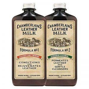 Chamberlain's Leather Milk Lot de 2 laits nettoyant/assouplissant cuir n° 1 et 2 - avec 2 cotons - naturel/non toxique - 0.35 L de la marque Chamberlain's Leather Milk image 0 produit