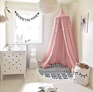 Ciel de lit pour enfants, Filet anti-moustique en coton à suspendre - Rideau, Tente de lecture Intérieure et Extérieure, décoration de lit et de chambre à coucher, Moustiquaire (hauteur : 240cm, Circonférencedu haut : 152cm, circonférence du bas: 265 image 0 produit