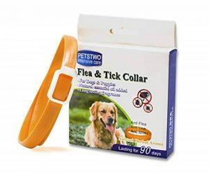 Collier anti-puces pour chien - 3 mois de protection anti-puces et de contrôle des tiques - Pour chiens chats - Taille réglable et étanche - Arrête les piqûres des parasites et les démangeaisons de la marque JUNMO image 0 produit