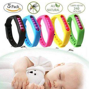 DoTech 5 Pcs Bracelet Anti Moustique avec Deet Imperméable 100% Naturel Tropical Bracelets Anti-Moustiques et Insecte Pour Enfants Bebe et Adultes de la marque DoTech image 0 produit
