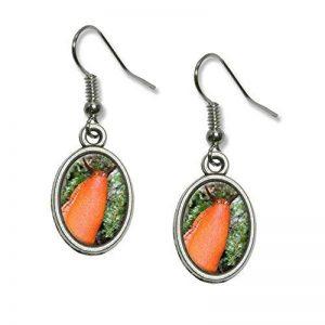 Grande Orange limaces Escargots Mollusk fantaisie pendentif en forme de goutte ovale Charm Boucles d'oreilles de la marque Graphics and More image 0 produit