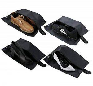 Grands sacs à chaussures de voyage, sac de rangement de toilette de glissière, sac cosmétique d'organisateur de voyage, sacs à chaussures imperméables pour le placard, paquet de 4, noir de la marque iwill CREATE PRO image 0 produit