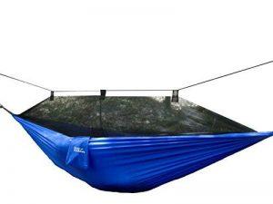 Hamac en toile de parachute avec moustiquaire intégrée Krazy Outdoors - Nylon ultra résistant - Réversible - Parfait pour le camping - Longueur totale de 325cm - Longueur et largeur de la toile 275cm x 140cm - Couleur Bleu de la marque Krazy Outdoors image 0 produit