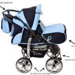 Kamil - Landau pour bébé + Siège Auto - Poussette - Système 3en1, incluant sac à langer et protection pluie et moustique - ROUES NON PIVOTABLES (Système 3en1, bleu marine, bleu) de la marque Baby Sportive image 2 produit