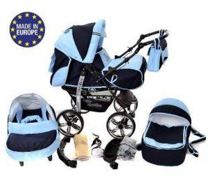 Kamil - Landau pour bébé + Siège Auto - Poussette - Système 3en1, incluant sac à langer et protection pluie et moustique - ROUES NON PIVOTABLES (Système 3en1, bleu marine, bleu) de la marque Baby Sportive image 0 produit