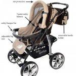 Kamil - Landau pour bébé + Siège Auto - Poussette - Système 3en1, incluant sac à langer et protection pluie et moustique - ROUES NON PIVOTABLES (Système 3en1, bronze, beige) de la marque Baby Sportive image 4 produit