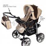 Kamil - Landau pour bébé + Siège Auto - Poussette - Système 3en1, incluant sac à langer et protection pluie et moustique - ROUES NON PIVOTABLES (Système 3en1, bronze, beige) de la marque Baby Sportive image 3 produit