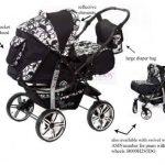 Kamil - Landau pour bébé + Siège Auto - Poussette - Système 3en1, incluant sac à langer et protection pluie et moustique - ROUES NON PIVOTABLES (Système 3en1, fleurs) de la marque Baby Sportive image 1 produit