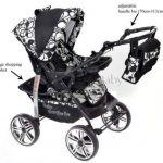 Kamil - Landau pour bébé + Siège Auto - Poussette - Système 3en1, incluant sac à langer et protection pluie et moustique - ROUES NON PIVOTABLES (Système 3en1, fleurs) de la marque Baby Sportive image 3 produit