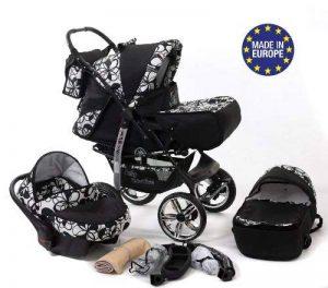 Kamil - Landau pour bébé + Siège Auto - Poussette - Système 3en1, incluant sac à langer et protection pluie et moustique - ROUES NON PIVOTABLES (Système 3en1, fleurs) de la marque Baby Sportive image 0 produit