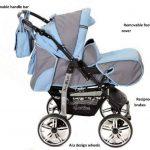 Kamil - Landau pour bébé + Siège Auto - Poussette - Système 3en1, incluant sac à langer et protection pluie et moustique - ROUES NON PIVOTABLES (Système 3en1, gris, bleu) de la marque Baby Sportive image 2 produit