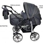 Kamil - Landau pour bébé + Siège Auto - Poussette - Système 3en1, incluant sac à langer et protection pluie et moustique - ROUES NON PIVOTABLES (Système 3en1, gris, taches) de la marque Baby Sportive image 1 produit