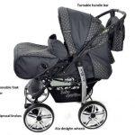 Kamil - Landau pour bébé + Siège Auto - Poussette - Système 3en1, incluant sac à langer et protection pluie et moustique - ROUES NON PIVOTABLES (Système 3en1, gris, taches) de la marque Baby Sportive image 2 produit