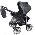 Kamil - Landau pour bébé + Siège Auto - Poussette - Système 3en1, incluant sac à langer et protection pluie et moustique - ROUES NON PIVOTABLES (Système 3en1, gris, taches) de la marque Baby Sportive image 3 produit
