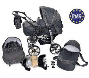 Kamil - Landau pour bébé + Siège Auto - Poussette - Système 3en1, incluant sac à langer et protection pluie et moustique - ROUES NON PIVOTABLES (Système 3en1, gris, taches) de la marque Baby Sportive image 0 produit