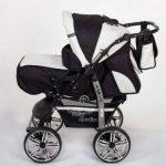 Kamil - Landau pour bébé + Siège Auto - Poussette - Système 3en1, incluant sac à langer et protection pluie et moustique - ROUES NON PIVOTABLES (Système 3en1, noir, blanc) de la marque Baby Sportive image 2 produit