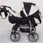 Kamil - Landau pour bébé + Siège Auto - Poussette - Système 3en1, incluant sac à langer et protection pluie et moustique - ROUES NON PIVOTABLES (Système 3en1, noir, blanc) de la marque Baby Sportive image 1 produit