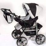 Kamil - Landau pour bébé + Siège Auto - Poussette - Système 3en1, incluant sac à langer et protection pluie et moustique - ROUES NON PIVOTABLES (Système 3en1, noir, blanc) de la marque Baby Sportive image 4 produit