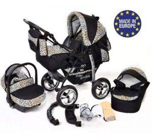 Kamil - Landau pour bébé + Siège Auto - Poussette - Système 3en1, incluant sac à langer et protection pluie et moustique - ROUES NON PIVOTABLES (Système 3en1, noir et Léopard) de la marque Baby Sportive image 0 produit