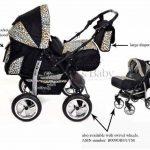 Kamil - Landau pour bébé + Siège Auto - Poussette - Système 3en1, incluant sac à langer et protection pluie et moustique - ROUES NON PIVOTABLES (Système 3en1, noir et Léopard) de la marque Baby Sportive image 1 produit