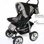 Kamil - Landau pour bébé + Siège Auto - Poussette - Système 3en1, incluant sac à langer et protection pluie et moustique - ROUES NON PIVOTABLES (Système 3en1, noir et Léopard) de la marque Baby Sportive image 3 produit