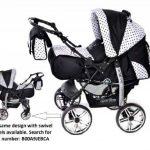 Kamil - Landau pour bébé + Siège Auto - Poussette - Système 3en1, incluant sac à langer et protection pluie et moustique - ROUES NON PIVOTABLES (Système 3en1, noir, taches) de la marque Baby Sportive image 1 produit