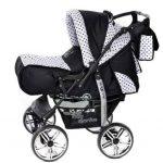 Kamil - Landau pour bébé + Siège Auto - Poussette - Système 3en1, incluant sac à langer et protection pluie et moustique - ROUES NON PIVOTABLES (Système 3en1, noir, taches) de la marque Baby Sportive image 2 produit