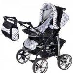 Kamil - Landau pour bébé + Siège Auto - Poussette - Système 3en1, incluant sac à langer et protection pluie et moustique - ROUES NON PIVOTABLES (Système 3en1, noir, taches) de la marque Baby Sportive image 3 produit