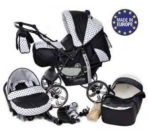 Kamil - Landau pour bébé + Siège Auto - Poussette - Système 3en1, incluant sac à langer et protection pluie et moustique - ROUES NON PIVOTABLES (Système 3en1, noir, taches) de la marque Baby Sportive image 0 produit