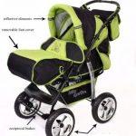 Kamil - Landau pour bébé + Siège Auto - Poussette - Système 3en1, incluant sac à langer et protection pluie et moustique - ROUES NON PIVOTABLES (Système 3en1, noir, verde) de la marque Baby Sportive image 2 produit