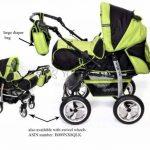 Kamil - Landau pour bébé + Siège Auto - Poussette - Système 3en1, incluant sac à langer et protection pluie et moustique - ROUES NON PIVOTABLES (Système 3en1, noir, verde) de la marque Baby Sportive image 1 produit