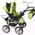 Kamil - Landau pour bébé + Siège Auto - Poussette - Système 3en1, incluant sac à langer et protection pluie et moustique - ROUES NON PIVOTABLES (Système 3en1, noir, verde) de la marque Baby Sportive image 3 produit