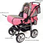 Kamil - Landau pour bébé + Siège Auto - Poussette - Système 3en1, incluant sac à langer et protection pluie et moustique - ROUES NON PIVOTABLES (Système 3en1, rose et Léopard) de la marque Baby Sportive image 2 produit
