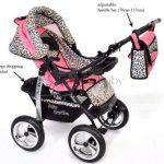 Kamil - Landau pour bébé + Siège Auto - Poussette - Système 3en1, incluant sac à langer et protection pluie et moustique - ROUES NON PIVOTABLES (Système 3en1, rose et Léopard) de la marque Baby Sportive image 3 produit