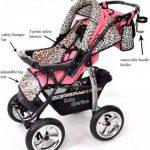 Kamil - Landau pour bébé + Siège Auto - Poussette - Système 3en1, incluant sac à langer et protection pluie et moustique - ROUES NON PIVOTABLES (Système 3en1, rose et Léopard) de la marque Baby Sportive image 4 produit