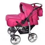 Kamil - Landau pour bébé + Siège Auto - Poussette - Système 3en1, incluant sac à langer et protection pluie et moustique - ROUES NON PIVOTABLES (Système 3en1, rose, taches) de la marque Baby Sportive image 2 produit