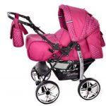 Kamil - Landau pour bébé + Siège Auto - Poussette - Système 3en1, incluant sac à langer et protection pluie et moustique - ROUES NON PIVOTABLES (Système 3en1, rose, taches) de la marque Baby Sportive image 1 produit