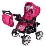 Kamil - Landau pour bébé + Siège Auto - Poussette - Système 3en1, incluant sac à langer et protection pluie et moustique - ROUES NON PIVOTABLES (Système 3en1, rose, taches) de la marque Baby Sportive image 3 produit