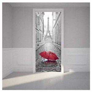 Kangrunmy 3D Autocollant De Porte, 1 Pc Pvc Salle Bains Paris Tour Eiffel ImperméAble DéCalque Mur Maison DéCor Peint Stickers Muraux (Gris, 38.5 X200cm) de la marque Kangrunmy image 0 produit