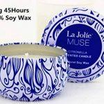 La Jolie Muse Bougie Anti Moustique Citronnelle, Anti Insectes Mouche 100% cire de soja, À l'intérieur et à l'exterieur, 45 heures de la marque La Jolie Muse image 5 produit